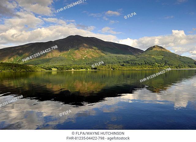 View of mountain reflected in lake, Skiddaw, Bassenthwaite Lake, Keswick, Northern Fells, Lake District N.P., Cumbria, England, September