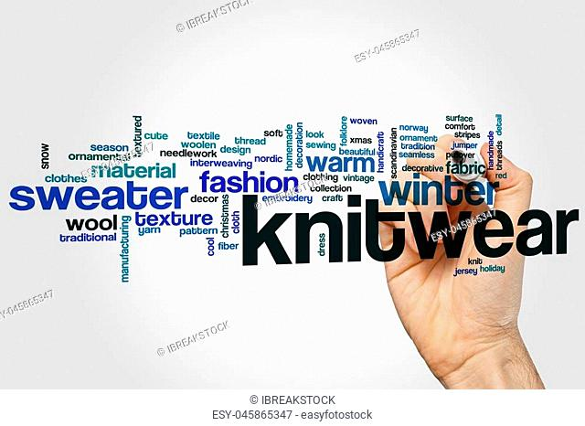 Knitwear word cloud concept with wool warm related tags