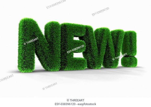 Grass word, new, isolated on white background, 3D render