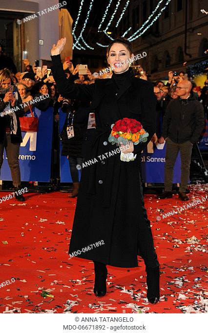 Anna Tatangelo on the Red Carpet of the 69th Sanremo Music Festival. Sanremo (Italy), Fabruary 4th, 2019
