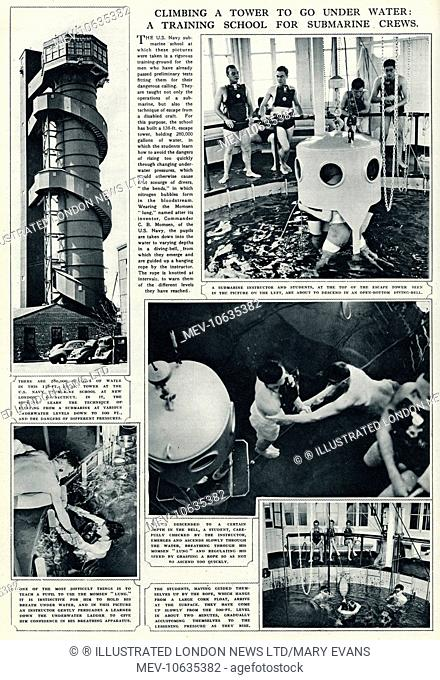 The U.S Navy submarine school at New London, which these photographs were taken is a rigorous training ground for the men who have already passed preliminary...