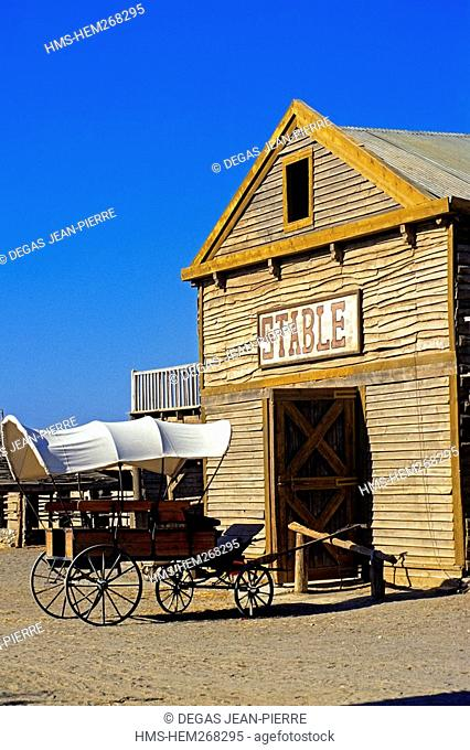 Spain, Andalusia, Almeria Province, Tabernas Desert, Texas-Hollywood village where many Arttists Arte filming their video clips or commercials
