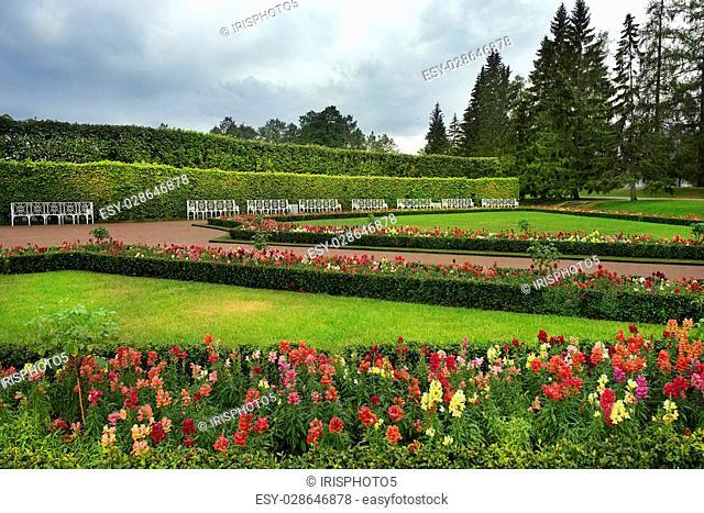 picturesque landscape in Catherine park, Tsarskoye Selo ( Pushkin ), suburb of St. Petersburg, Russia