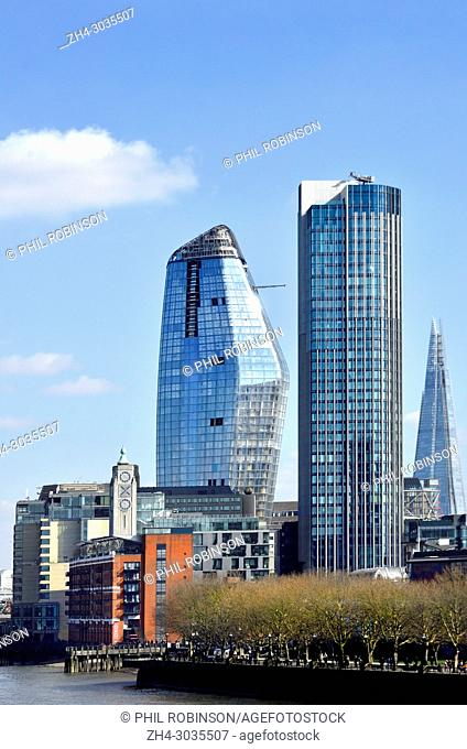 London, England, UK. New buildings in the Southwark area - One Blackfriars (L - 2018) South Bank Tower (apartments,1972: formerly King's Reach Tower) the Shard...