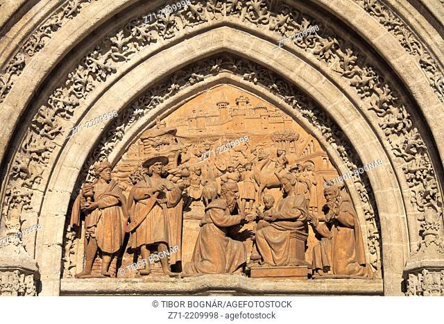 Spain, Andalusia, Seville, Cathedral, Puerta de Palos, Door of the Adoration of the Magi,