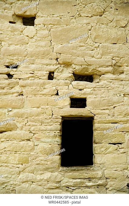 Window Opening in Old Brick Adobe Wall