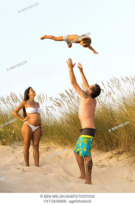 Family enjoying the beach. Tarifa, Costa de la Luz, Cadiz, Andalusia, Spain, Southern Europe
