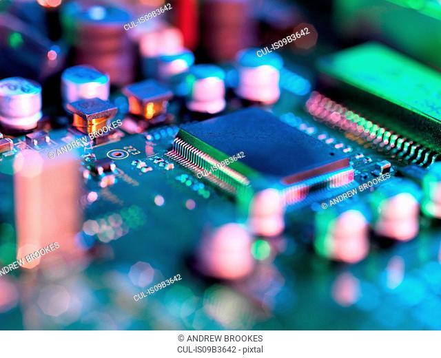 Close up of hi-tech electronic circuit board