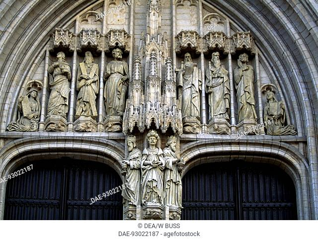 The door of the Brabantine Gothic style, St Michael and St Gudula Cathedral, Brussels. Detail. Belgium