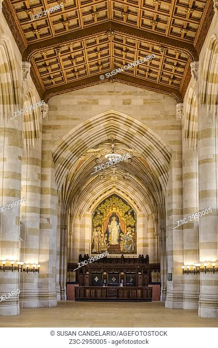 Yale University Sterling Memorial Library - Interior view of Collegiate Gothic architecture style main library at at Yale University