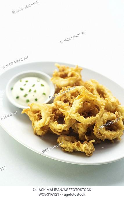 calamares calamari fired battered squid rings seafood snack with aioli sauce