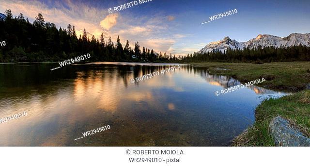 Panorama of Lake Entova at dawn, Malenco Valley, Province of Sondrio, Valtellina, Lombardy, Italy, Europe