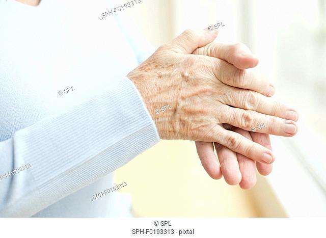Senior woman's hands, close up