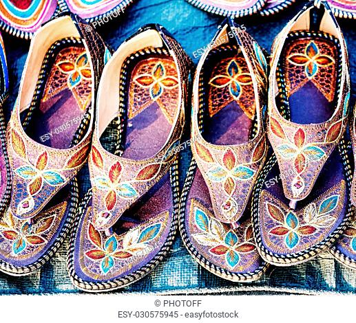 Colorful traditional shoes for sale in Rajasthan. India, Asia