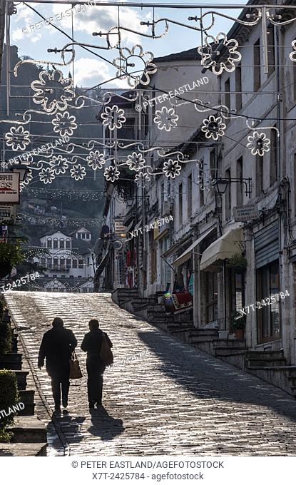 The bazaar district of Gjirokastra in southern Albania with its old ottoman influenced houses