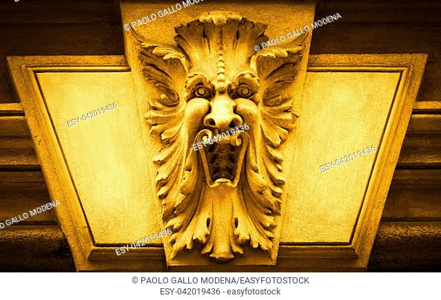 Italy, Turin. This city is famous to be a corner of two global magical triangles. This is a protective mask of stone on the top of a luxury palace entrance