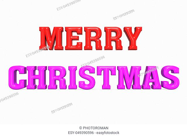Merry Christmas inscription made of red and purple letters on white background. Greeting card. Happy holidays design for banner, poster, flyer, invitation