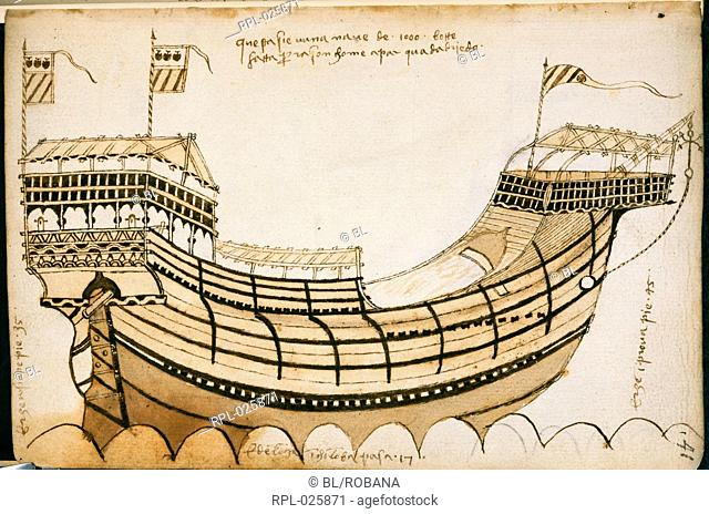 Drawing of a ship, Whole folio A drawing of ship, from a compilation of extracts concerning naval architecture Originally published/produced in Italy Venice