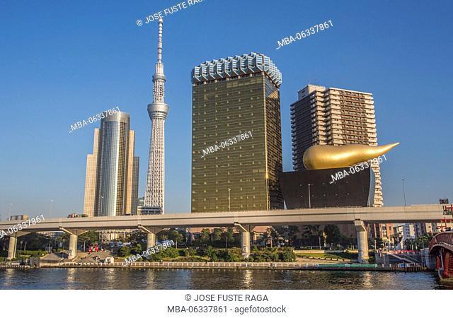 Japan, Tokyo City,Asakusa Distric, Sky Tree Tower, Asahi Beer Hall, Sumida river