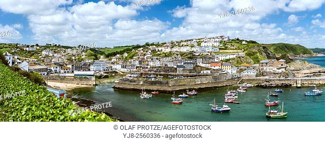 View over the harbor of the fishing village Mevagissey in Cornwall, England, UK