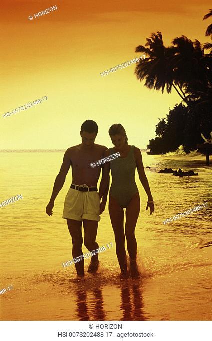 Couple, Beach, Swimwear, Sunset