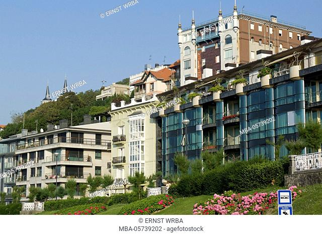 Houses in the seafront, Donostia-San Sebastián, Gipuzkoa, the Basque Provinces, Spain