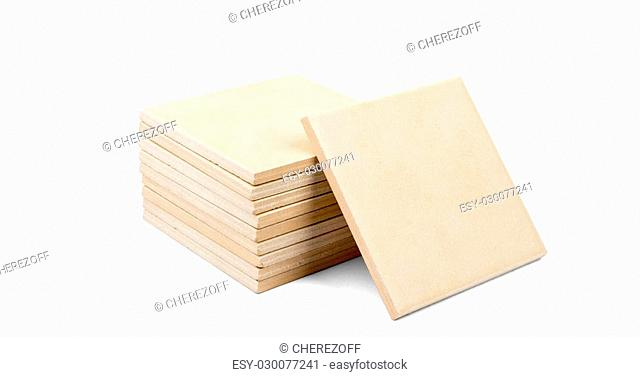 Pile of tiles isolated on white background