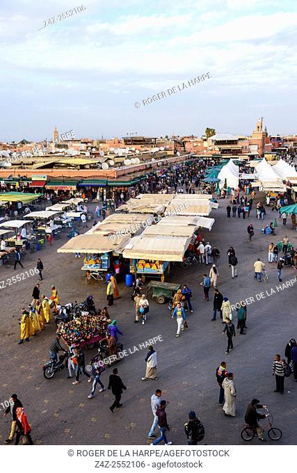 The Jemaa el-Fnaa or Djemaa el Fna. A UNESCO World Heritage Site. Marrakesh or Marrakech. Morocco