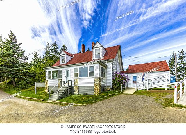 Keepers House built 1854 at Owls Head Lighthouse in Owls Head Light State Park on West Penobscot Bay in Maine in the United States