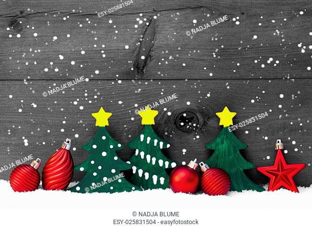 Christmas Decoration On White Snow And Snowflakes. Green Christmas Tree And Red Christmas Balls. Rustic, Vintage Wooden Background For Copy Space