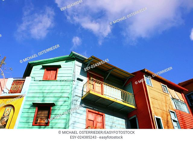 "Historical buildings in the famous Neighborhood of """"La Boca"""" in Buenos Aires, Argentina"