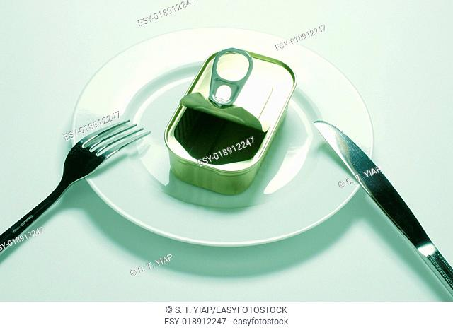Empty tin can on plate