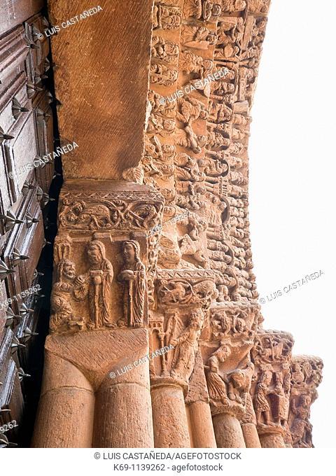 Main front, Romanesque convent church of Santo Domingo 12th century, Soria, Castilla-Leon, Spain