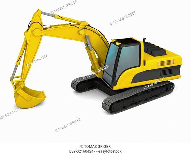 Modern excavator illustration