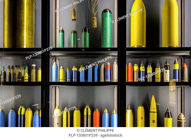 First World War One artillery ammunition in the Memorial Museum Passchendaele 1917 at Zonnebeke, Belgium