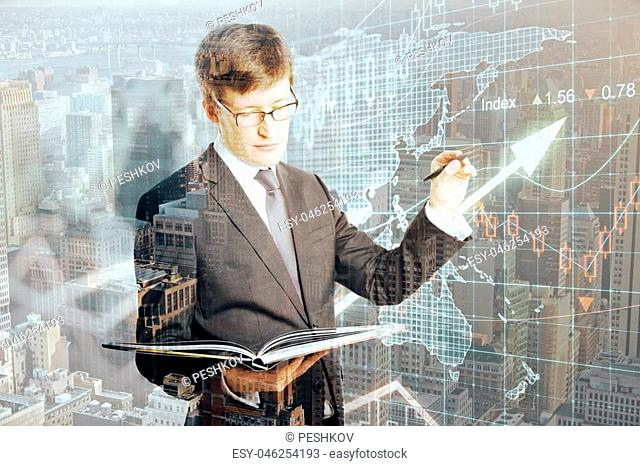 Businessman with open notepad writing something on abstract forex chart background. Trade concept. Double exposure