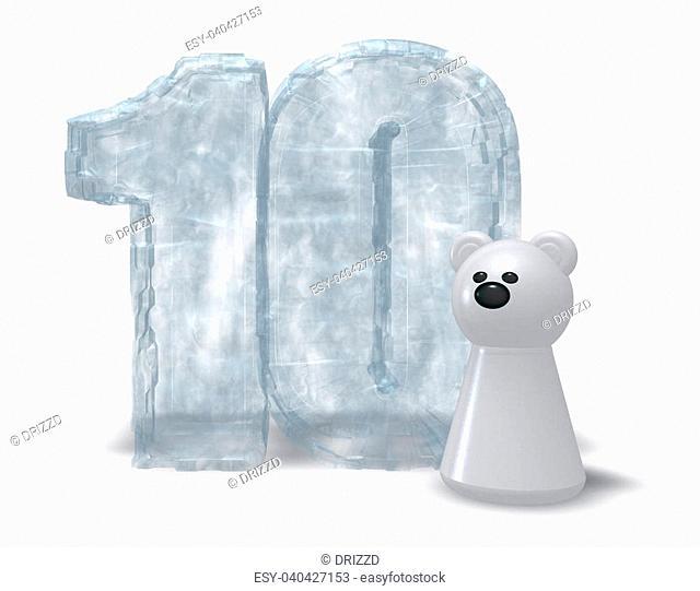 frozen number ten and polar bear - 3d illustration