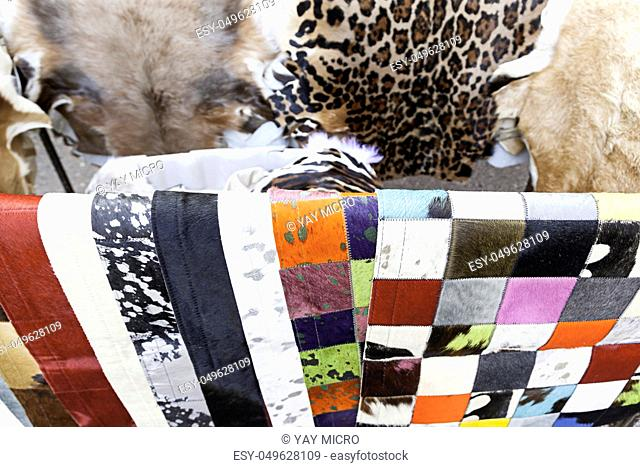 Animal skins color, detail of furs in an old market