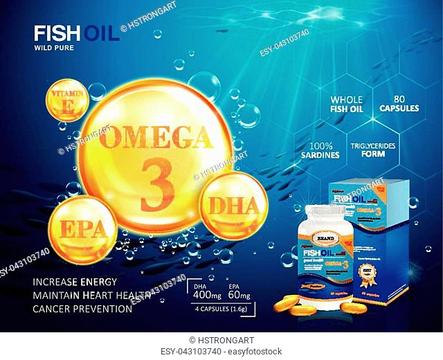 Fish oil ads template, omega-3 softgel with its package. Deep sea background. 3D illustration