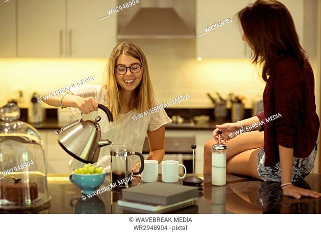 Friends preparing coffee