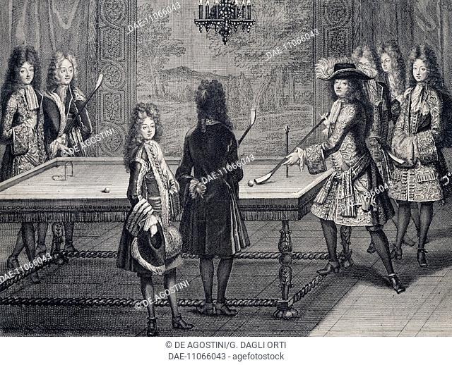 The thirteenth apartment in Versailles, Louis XIV playing billiards with courtiers and members of the royal family, 1694, by Antoine Trouvain (1656-1708)