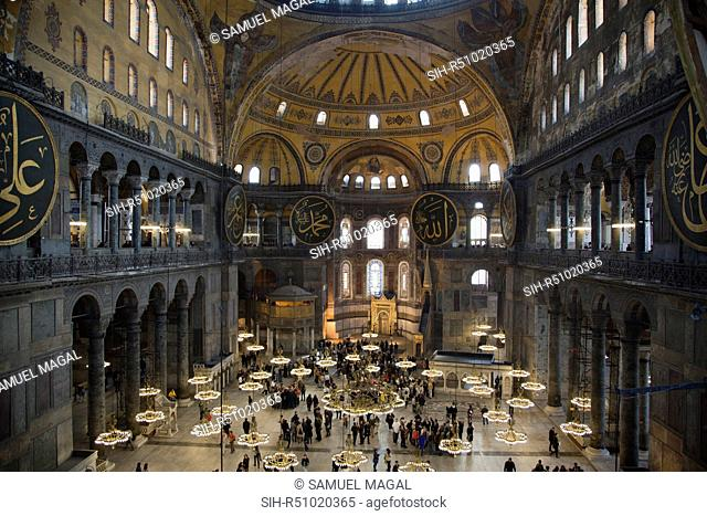 Hagia Sophia is a former Orthodox patriarchal basilica, later a mosque, and now a museum in Istanbul, Turkey. From the date of its dedication in 360 until 1453