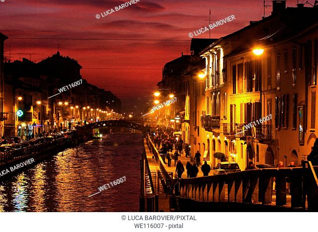 Sunset on river - Naviglio Grande, Milan Italy