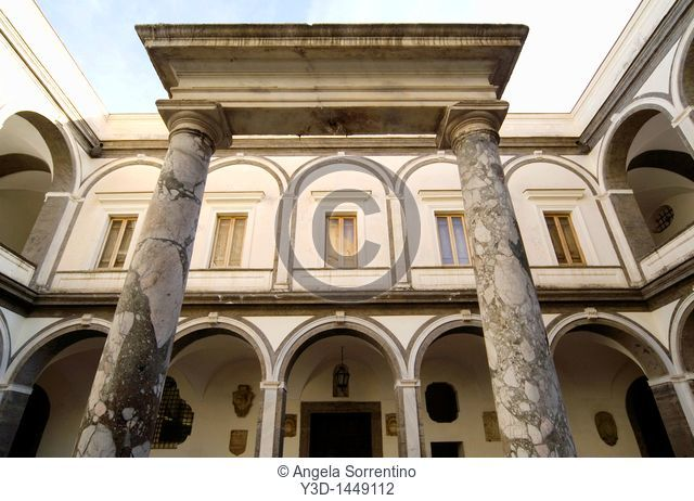 Architecture in San Martino cloister, Naples, Italy