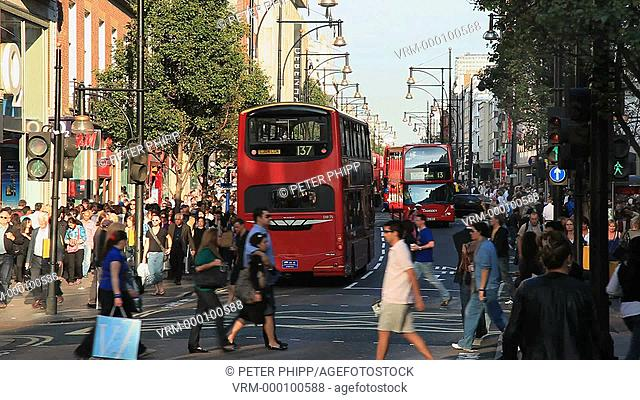 Busy Oxford Street in London with people shopping
