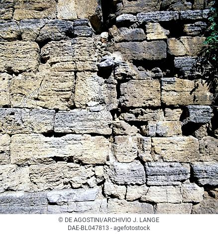 Stone wall of the so-called Nicchioni from Roman times, Todi, Umbria, Italy. Roman civilisation, 1st century BC