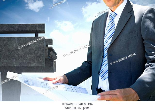 Architect holding a plan against the sky an a brigde