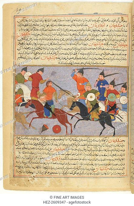 Battle between the Mongol and Jin Jurchen armies in north China in 1211. Miniature from Jami' al-taw Artist: Anonymous