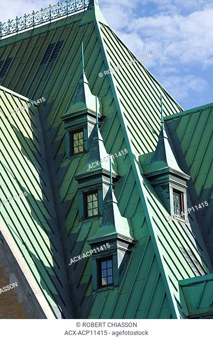 Architectural detail of the Chateau Frontenac, Quebec City, Quebec, Canada