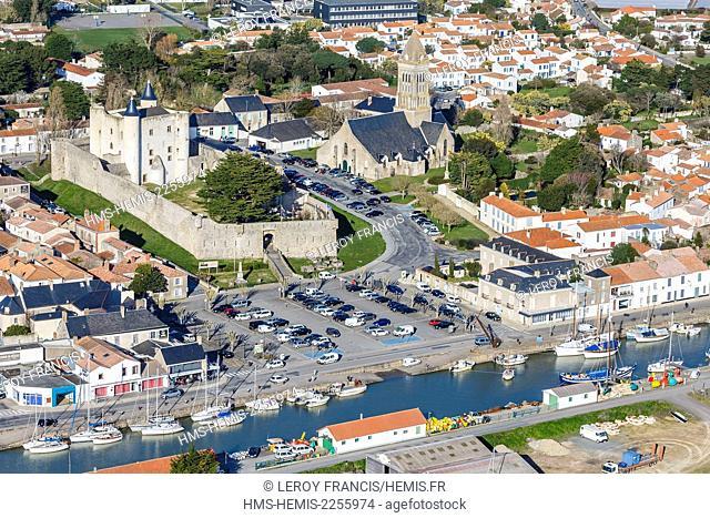 France, Vendee, Noirmoutier en l'Ile, the castle, the church and the harbour (aerial view)
